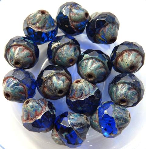 0090111 Sapphire Picasso Facet Turbine Beads 8 Pc.-0