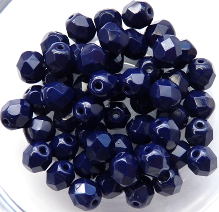 0090113 Opaque Navy Blue Facet 6 mm. 25 Pc.-0