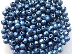 0090120 Metallic Suede Blue facet 3 mm. 60 Pc-0