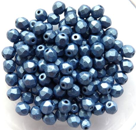 0090121 Metallic Suede Blue Facet 4 mm. 50 Pc.-0