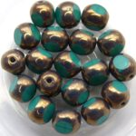 0100346 Opaque Green Turquoise met Bronze 3 Cut 8 mm. 6 Pc.-0