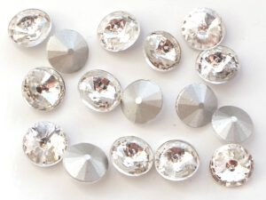 RIV-08-00030 Crystal Silver Foiled Rivoli 8 mm. 6 Pc.-0