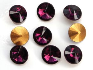 RIV-08-20050 Amethyst Gold Foiled Rivoli 8 mm.6 Pc.-0