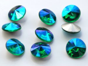 RIV-08-50730-28701 Emerald AB Silver Foiled Rivoli 8 mm. 6 Pc.-0