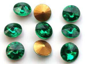 RIV-08-50730 Emerald Gold Foiled Rivoli 8 mm. 6 Pc.-0