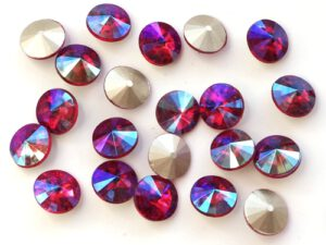 RIV-08-90070-28701 Light Siam Ruby AB Silver Foiled Rivoli 8 mm. 6 Pc.-0