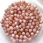 0070371 Opaque White Topaz/Pink Luster facet 3 mm. 65 Pc.-0