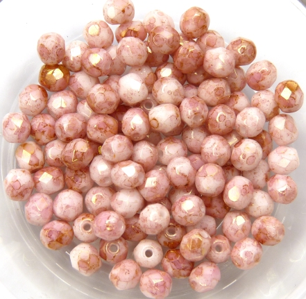 0070376 Opaque White Topaz/Pink Luster facet 4 mm. 50 Pc.-0