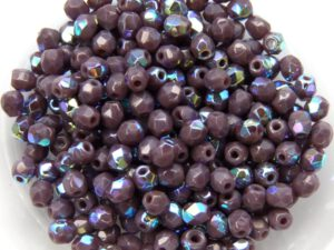 0080508 Opaque Dark Amethyst AB facet 3 mm. 60 Pc.-0