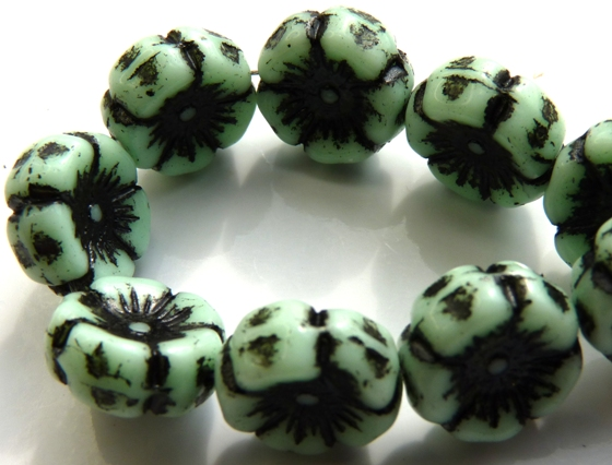 0100011 Opaque Light Green Black Wax Flower 10 Pc.-0