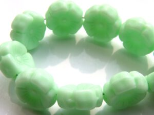 0100008 Opaque Light Mint green Flower 12 Pc.-0