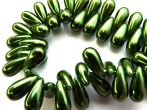 0100112 Dark Green Glass Pearl Drop 30 Pc.-0
