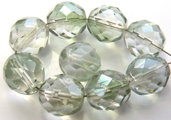 0100343 Transparent Luster Light Green Facet 12 mm. 6 Pc.-0