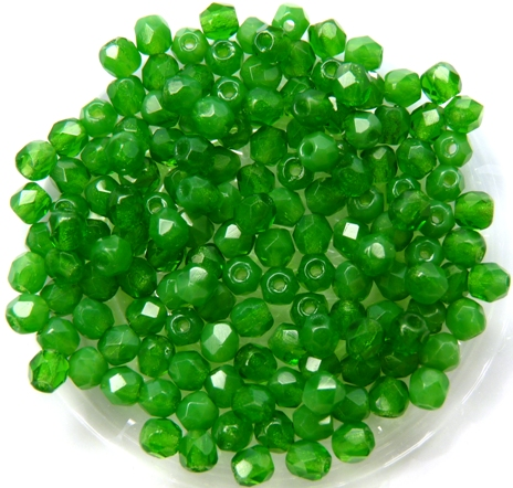 0100414 Milky Dark Peridot Green Facet, 3 mm. 75 Pc.-0