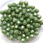 0100417 Opaque White Green Luster Facet 4 mm.  50 Pc.-0