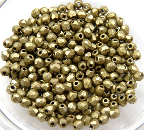 0100437 Matte Metallic Goldish Green Facet, 3 mm. 65 Pc.-0