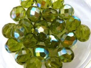 0100440 Olivine AB Facet 8 mm. 15 Pc.-0