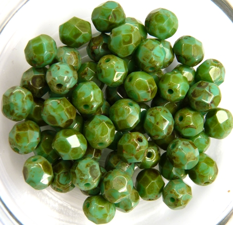 0100469 Green Turquoise Picasso Facet 6 mm. 20 Pc.-0
