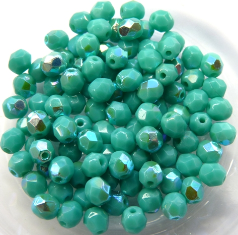 0100480 Opaque Green Turquoise met AB, Facet 4 mm. 40 Pc.-0