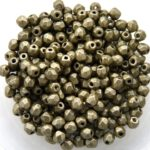0100503 Metallic Suede Olive Green facet 3 mm 50 Pc.-0