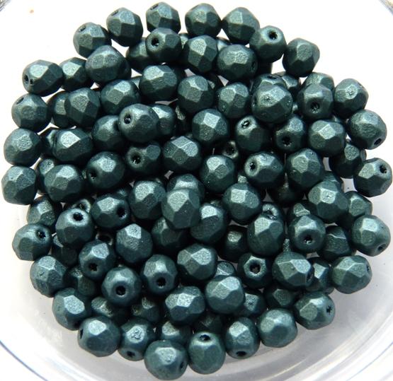 0100506 Metallic Suede Dark Forest Facet 4 mm. 50 Pc.-0