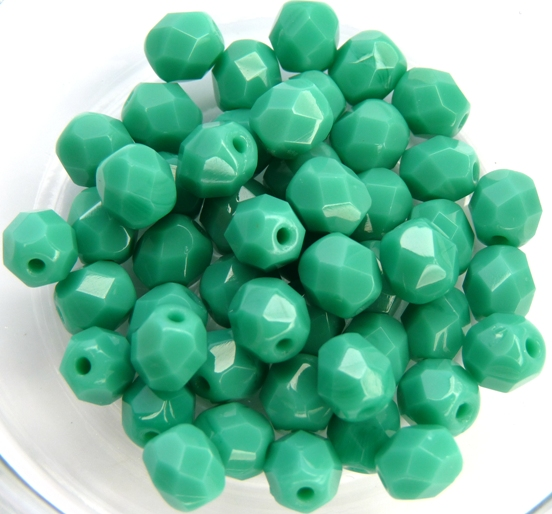 0100514 Opaque Green Turquoise facet 6 mm. 20 Pc.-0