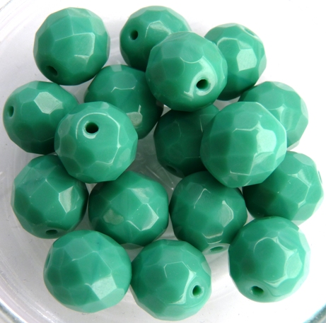 0100512 Dark Opaque Green Turquoise Facet 10 mm. 8 Pc.-0
