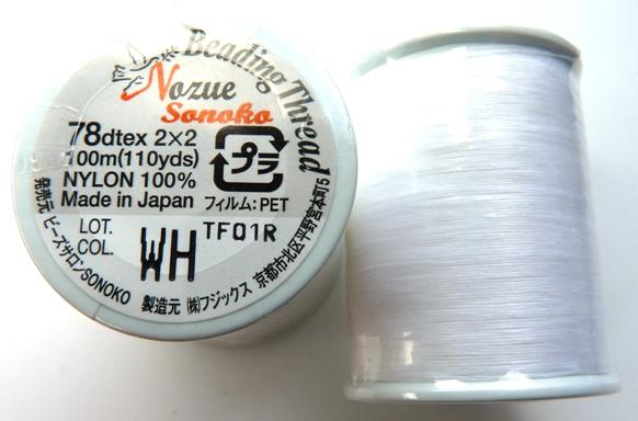 NS78WH Nozue Sonoko Beading Thread White -0