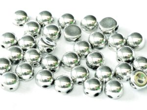 2HC-6-23980-27000 2-Hole Cabochon Jet Full Labrador (Full Silver) 25 Pc.-0