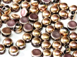 2HC-6-23980-27143 2-Hole Cabochon Jet Full Capri Rose 25Pc-0