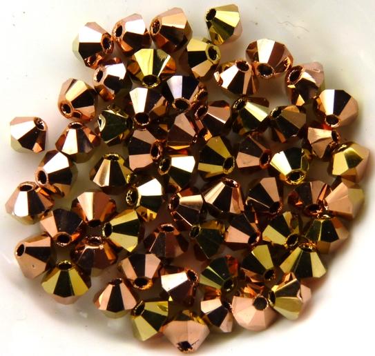03-MC-00010-27101-26441 Bicones Crystal Capri Gold/Brass 3 mm. 50 Pc.-0
