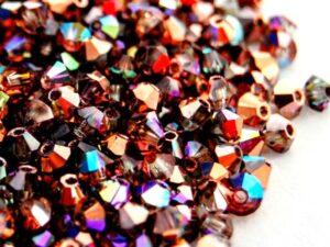 03-MC-00010-98533 Bicones Crystal Rainbow Copper 3 mm. 50 Pc.-0