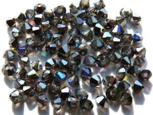 03-MC-00010-98537 Bicones Crystal Rainbow Graphite 3 mm. 50 Pc.-0