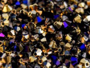 03-MC-00010-98548 Bicone Crystal California Gold Blue 3 mm. 50 Pc.-0