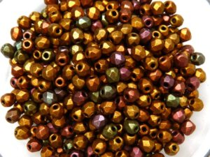 0030301 Silky Purple Metallic Gold Mix facet 3 mm. 70 Pc.-0