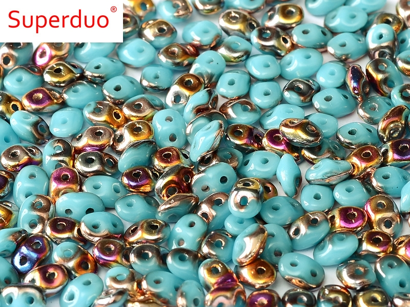 SD-63030-29500 Superduo Opaque Blue Turquoise Sliperit 10 gram-0