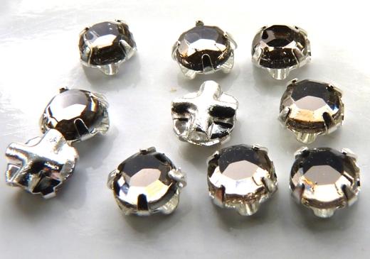 SS20-40010-Silver Extra Chaton Rose Montees Black Diamond Silver 15 Pc.-0