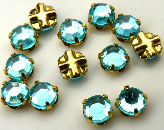 SS20-60010-Gold Extra Chaton Rose Montees Auqamarine Gold 15 Pc.-0