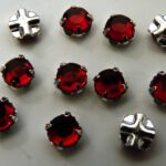 SS20-90090-Silver Extra Chaton Rose Montees Dark Siam Ruby Silver 15 Pc.-0