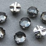 SS30-40010-Slv Extra Chaton Rose Montees Black Diamond Silver 8 Pc.-0