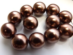 0030093 Glass Pearl Soft Bronze 12 mm. 10 Pc.-0