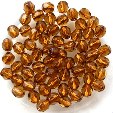 0030203 Copper Lined Smoky Topaz facet 4 mm. 50 Pc.-0