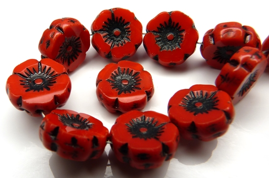 0050065 Opaque Red Black Wax coated Table Cut Flower 6Pc.-0