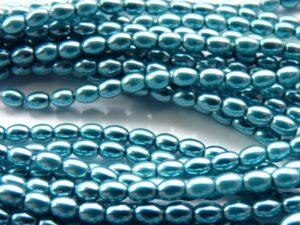 0090265 Aqua Oval Glass Pearl 4 x 3 mm. 1 strand 120 Pc.-0