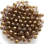 04-R-00030-15695 Crystal Lila Gold Luster round 4 mm. 100 Pc.-0