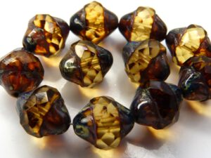0030198 Light Topaz Picasso Facet Turbine Beads 8 Pc.-0