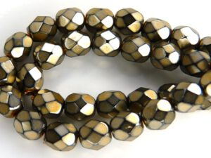 0030253 Antique Metallic Brown Facet 6 mm. 25 Pc.-0