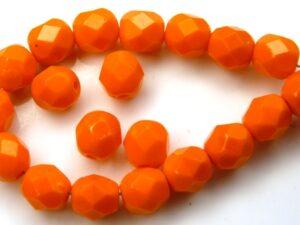 0060114 Opaque Mandarin Orange facet 6 mm. 25 Pc.-0
