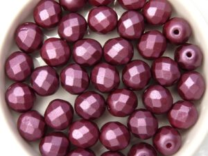 0080591 Pastel Pearl Burgundy Facet 8 mm. 15 Pc.-0