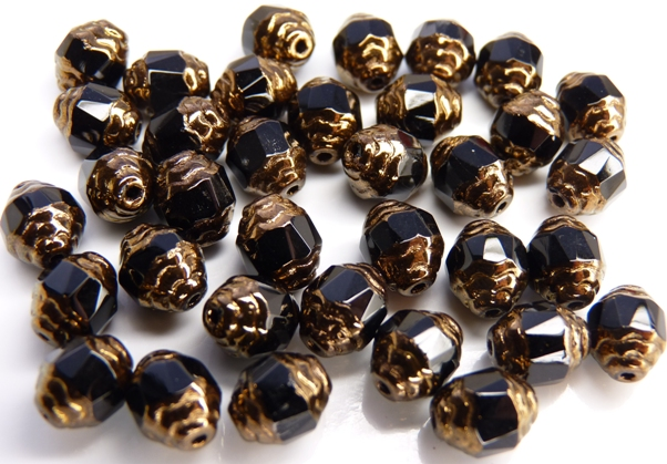 0010435 Jet Copper Facet Antique Style Cathedral Beads 12 Pc.-0